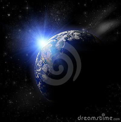 3D  Earth Planet in blue sun