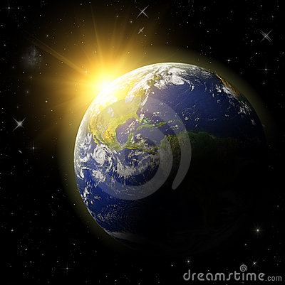 3D  Earth Planet in space
