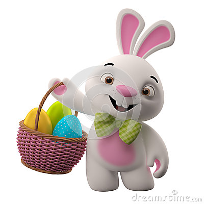 Free 3D Easter Bunny, Merry Cartoon Rabbit, Animal Character With Easter Eggs In Wicker Basket Royalty Free Stock Image - 38359226