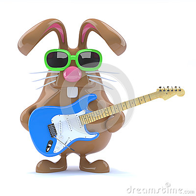 Free 3d Easter Bunny Played Guitar Royalty Free Stock Photo - 38312895