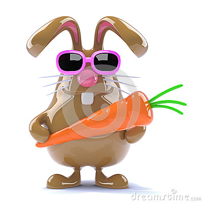 Free 3d Easter Rabbit With A Carrot Stock Photos - 38633763