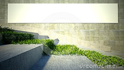 3d ecology concept, grass and blank billboard