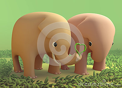 3D elephant couple in love