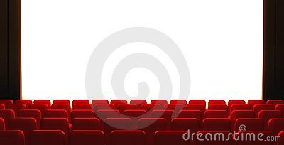 3d Empty cinema screen with auditorium