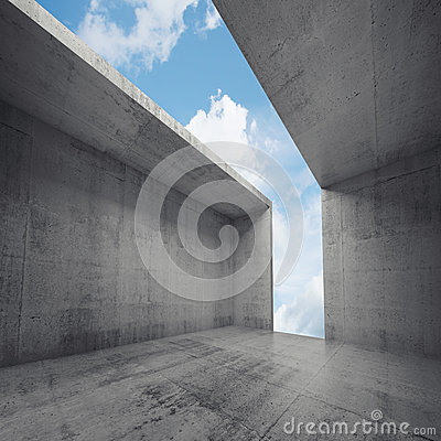 Free 3d Empty Concrete Room Interior With Opening Stock Photo - 54113520