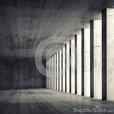 Free 3d Empty Interior And Concrete Walls And Columns Royalty Free Stock Photo - 52695725