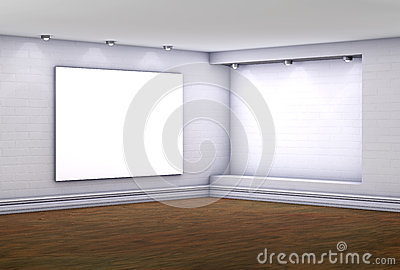3d empty niche with lightbox for exhibit