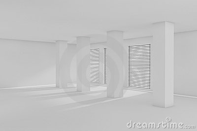 3d empty room with sunlight