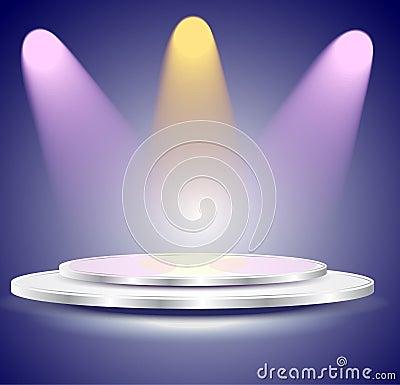 3d Empty white podium with color light