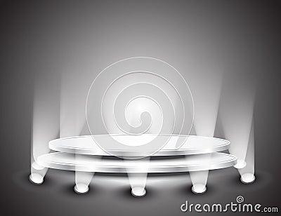 3d Empty white podium with light