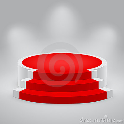 Free 3d Empty White Podium With Red Carpet Stock Images - 20127854