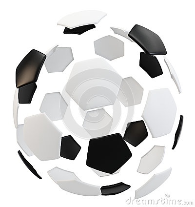3d exploded soccer ball
