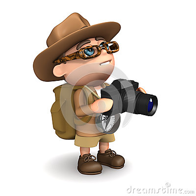 Free 3d Explorer Takes A Photo Royalty Free Stock Photography - 39045847