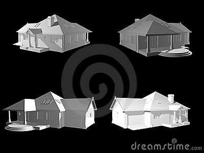 3d face house project isolated on black