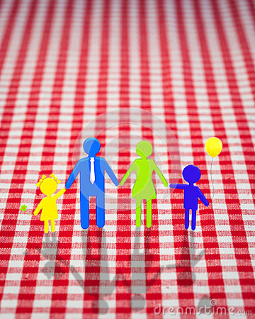 3d family on gingham tablecloth