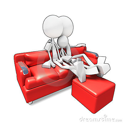 3D family sitting in sofa watvhing tv
