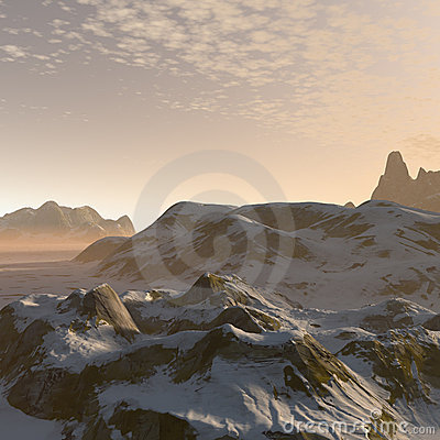3D fantasy winter mountains landscape