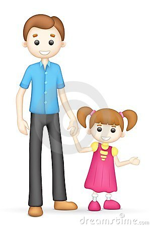 Illustration of 3d father and daughter in vector fully scalable.