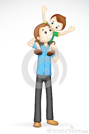 3d Father and Son in Vector