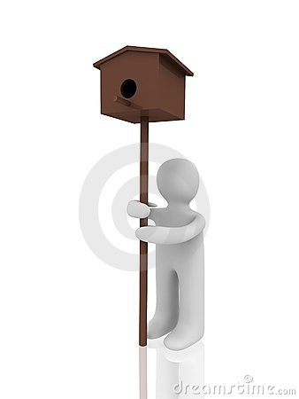 3d figure with birdhouse