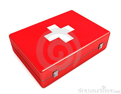 3d First aid kit isolated on white