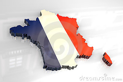 3d flad map of France