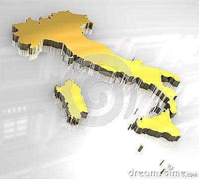 3d flag golden of Italy