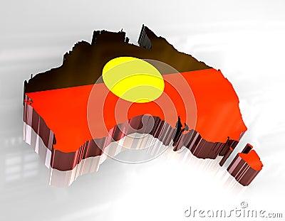 3d flag map of Australian Aboriginal