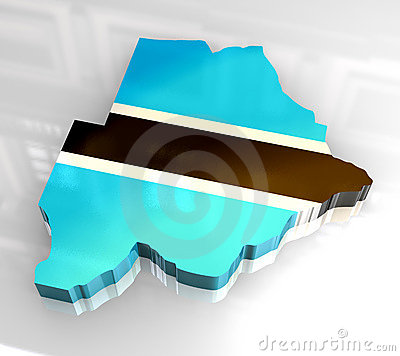 3d flag map of botswana