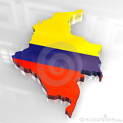 3d flag map of Colombia