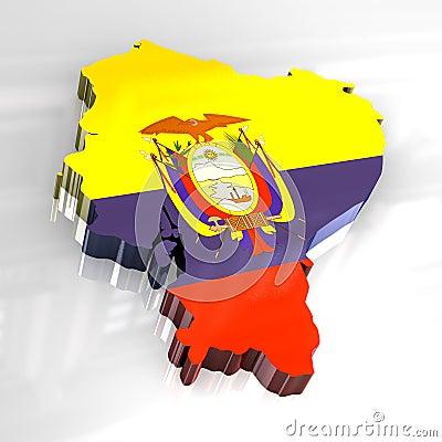 3d flag map of Ecuador