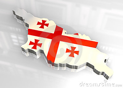 3d flag map of Georgia