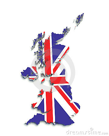3D flag map of Great Britain on white
