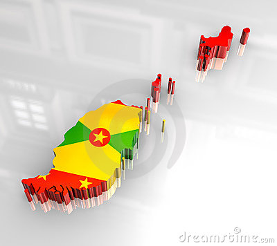 3d flag map of Grenada
