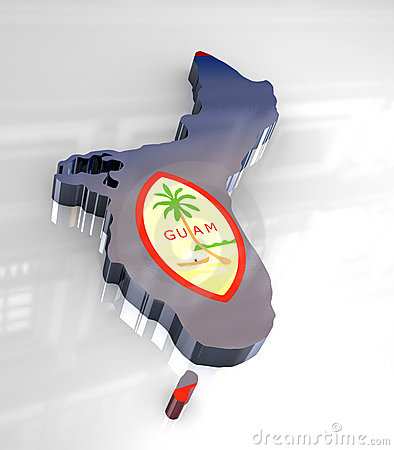 3d flag map of Guam