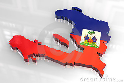 3d flag map of Haiti
