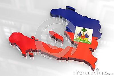3d flag map of Haiti