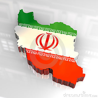 3d flag map of Iran