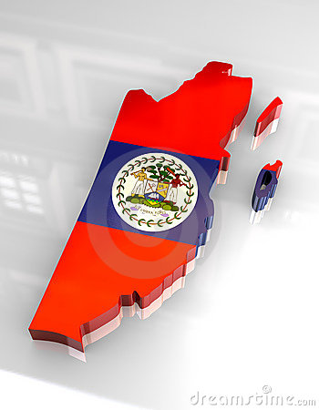 Free 3d Flag Map Of Belize Royalty Free Stock Image - 5249436