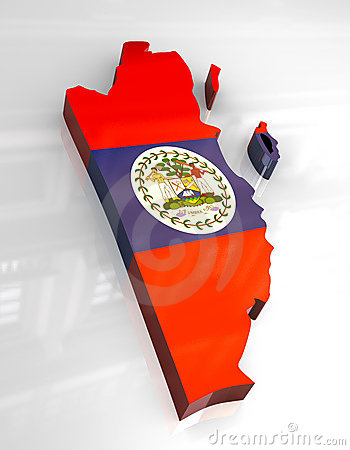 Free 3d Flag Map Of Belize Stock Image - 5249441