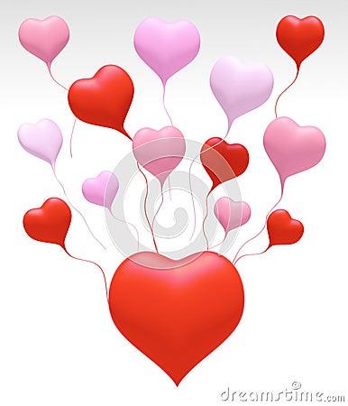 3D Float love Colors Heart