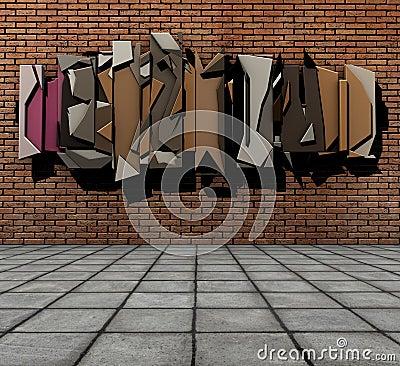 3d  floating graffiti on grunge brick