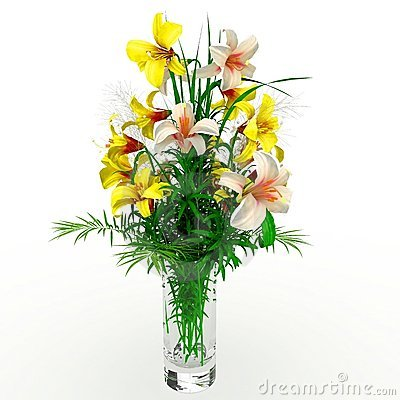 3d flower arrangement on vase