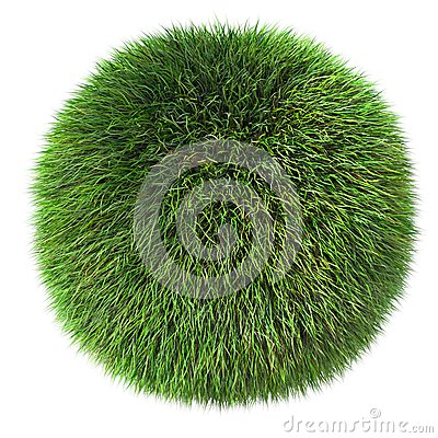 3d fluffy  grass sphere