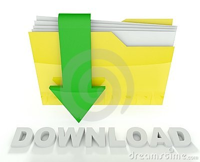 3d folder icon with arrow, download
