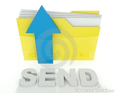 3d folder icon with arrow, send