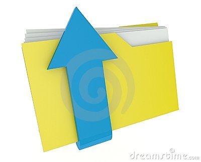 3d folder icon with arrow, send