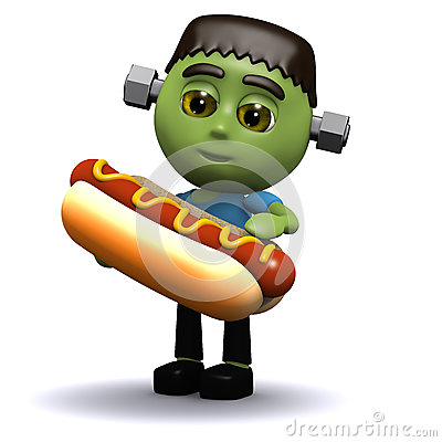 Free 3d Frankenstein Eats A Hotdog Stock Photography - 40581372