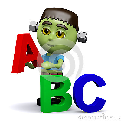 Free 3d Frankenstein Learns His Alphabet Royalty Free Stock Photo - 42261485