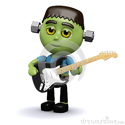 Free 3d Frankenstein Plays Electric Guitar Royalty Free Stock Images - 42261599